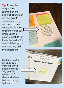 Informational Fifth Grade Reading Goals on Post Its