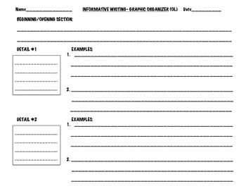 Informational Graphic Organizer- Writing Tool