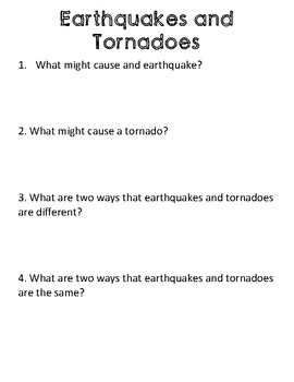 Informational/ Nonfiction Paired Passage: Earthquakes and Tornadoes