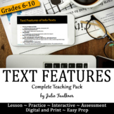 Informational Text Features Complete Teaching Pack, Examples, Games