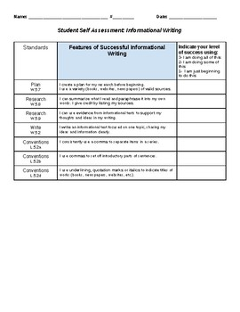 Nonfiction Writing Rubric & Student Self Assessment Common Core Grade 5