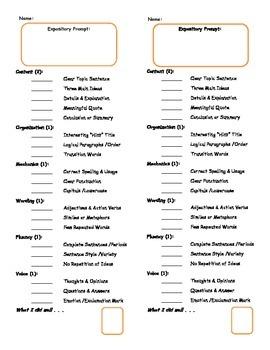 Informational Organizer & 6 Trait Grade Form, Middle School