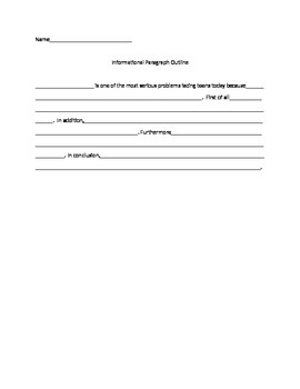 Informational Paragraph Outline for Read180 Stage C unit 1