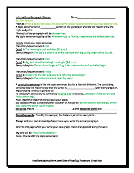 Writing an Informational Paragraph (planner and mentor paragraph)