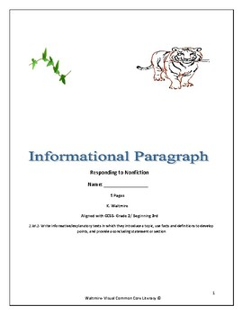 Informational Paragraph Writing - Responding to Nonfiction Grades 2 & 3