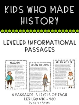 Differentiated Informational Passages - Biography - Kids Who Made History