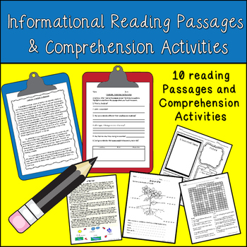 Reading Passages and Comprehension Activities for 3rd - 5th Grade
