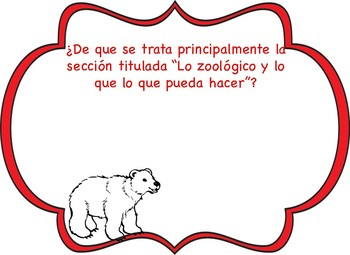 Informational Polar Bear open ended quetions SPANISH