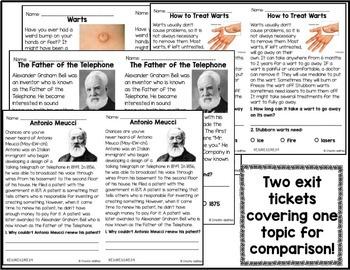 Informational Reading Exit Tickets 3rd Grade
