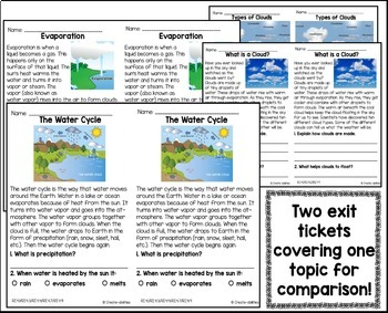 Informational Reading  Exit Tickets 4th Grade