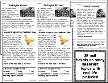 Informational Reading Exit Tickets 5th Grade by Create ...