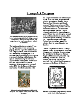 Informational Reading - Moving Toward Independence: Stamp Act Congress (No Prep)