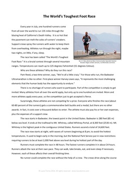 Informational Reading Passage - The World's Toughest Foot Race