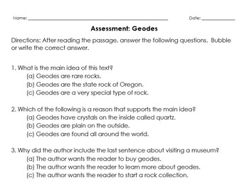 Informational Reading Passage and Assessment