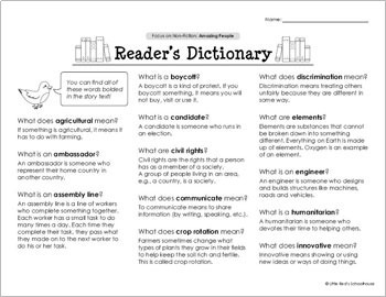 Reading Comprehension Passages - People - Distance Learning
