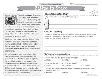 Reading Comprehension Passages - Fantastic Food