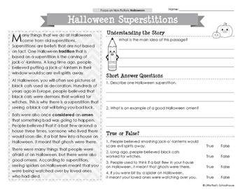Halloween Reading Comprehension Passages