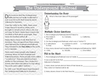 Underground Railroad Reading Comprehension Passages by LittleRed
