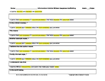 Informational Reading Response Organizer and Scaffolding