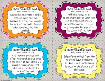Informational Reading Response Task Cards { Critical Thinking for Nonfiction }