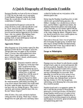 Info Reading Text/Vocab - Famous Americans: Benjamin Frank