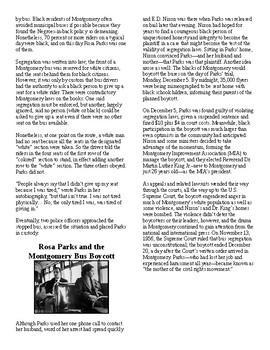 Info Reading Text - Black/Women's History Month: Rosa Parks (no prep/sub plans)
