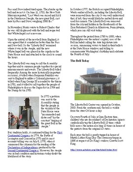 Info Reading Text/Vocab - Hisorical Monuments: The Liberty Bell (No Prep)