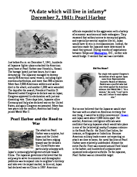 Informational Reading Text - Historical Events: Pearl Harbor - Dec 7, 1941
