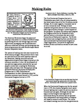 Informational Reading Text - Making Rules: After the Declaration (No Prep)