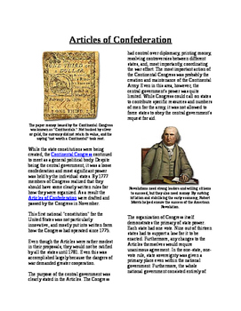 Informational Reading Text - Making Rules: Articles of Confederation (No Prep)