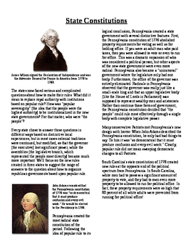 Informational Reading Text - Making Rules: State Constitutions (No Prep)