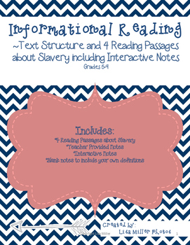 Informational Reading Text Structure and Interactive Notes on Slavery