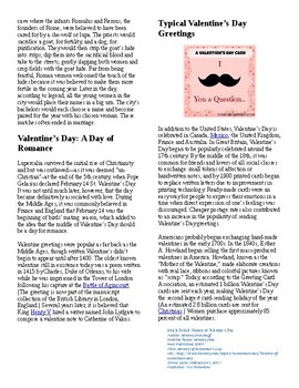 Informational Reading Text - US Holidays: Valentine's Day (no prep/sub plans)