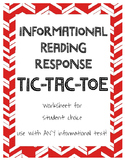 Informational Reading Tic-Tac-Toe Reading Response