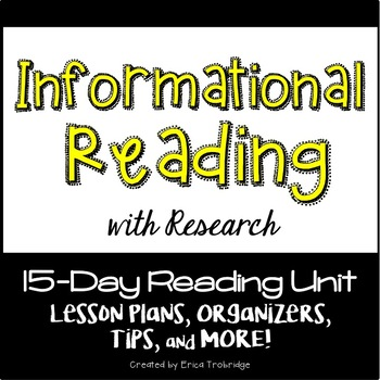 Informational Reading/Nonfiction Reading Unit {Common Core}