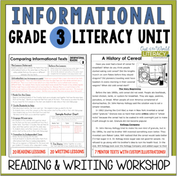 Informational Reading & Writing Unit: Grade 3...40 Lessons with CCSS!!