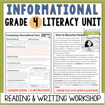 Informational Reading & Writing Unit: Grade 4...40 Lessons with CCSS!!
