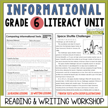 Informational Reading & Writing Unit: Grade 6...40 Lessons with CCSS!!