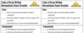 Explanatory / Informational Writing Rubric or Student Checklist