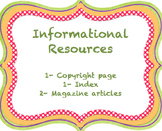 Informational Resources- Copyright Page, Magazine, and Index