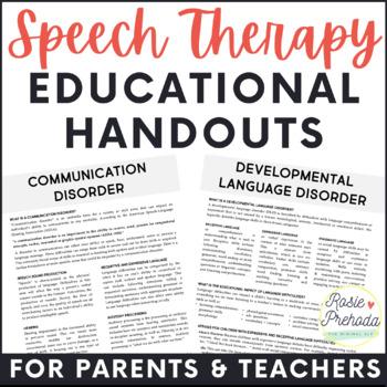 Informational Speech & Language Parent or Teacher Handouts