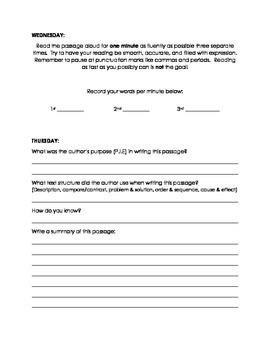 Informational Strategies Fluency Practice
