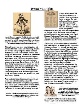 Informational Reading Text - 1800's Social Reform: Women's Rights (No Prep)