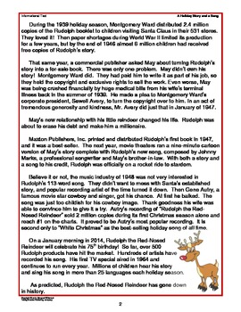 Informational Text A Holiday Story and a Song (CCSS) FREE