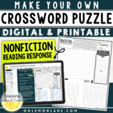 Informational Text Activity / Make your own Non-Fiction Cross Word Puzzle