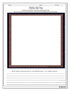 Informational Text- Afghan War Rugs/Create Fadi's Rug -Activity (Shooting Kabul)