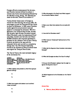 Info Read Text - The Age of Jackson: Trail of Tears and Indian Removal (No Prep)