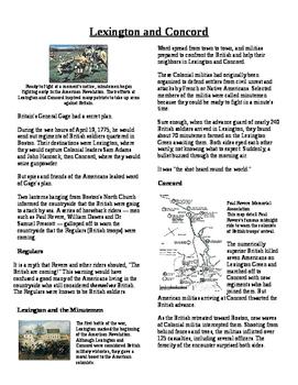Informational Text - American Revolution: Lexington and Concord (No Prep)