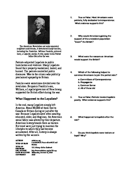 Informational Text - American Revolution: Loyalist and Patriots (No Prep)