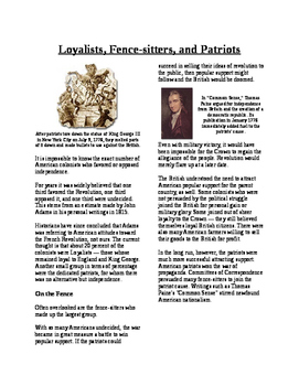 Informational Text - American Revolution: Loyalist and Pat